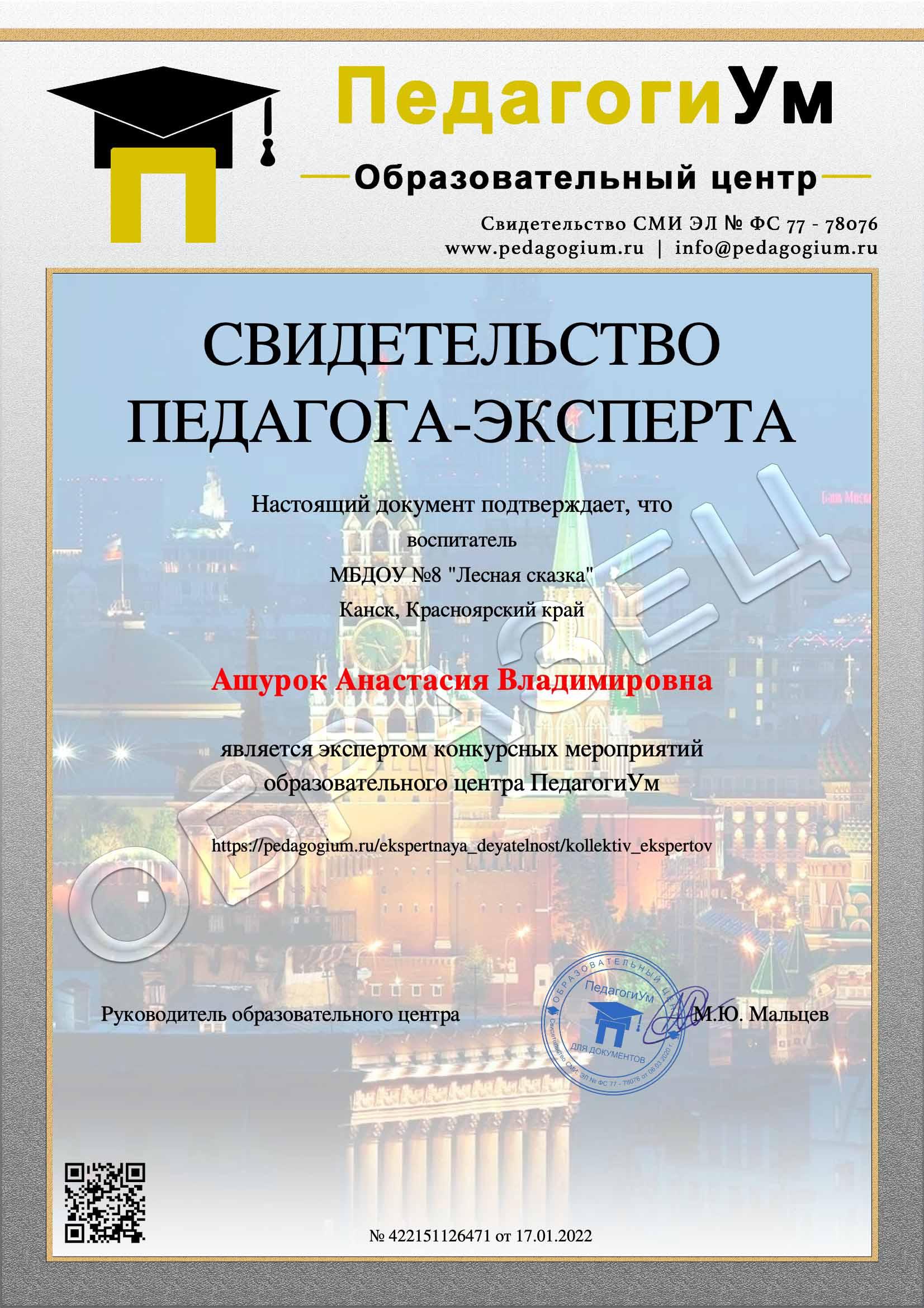 Образец документа за участие в экспертной деятельности центра ПедагогиУм.
